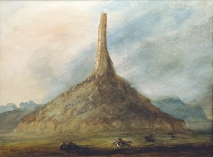 Alfred Jacob Miller, Chimney Rock Near Scott's Bluff, watercolor, gouache, graphite, ink, glaze on paper, n.d., Ricketts Art Foundation Collection