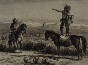 William de la Montagne Cary, A Chief Forbidding the Passage of a Train Through His Country, published in Harper's Weekly,. On loan from the collection of Eva and George Neubert.
