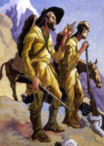 Thomas Hart Benton, The Mountain Men, Watercolor, 1995.