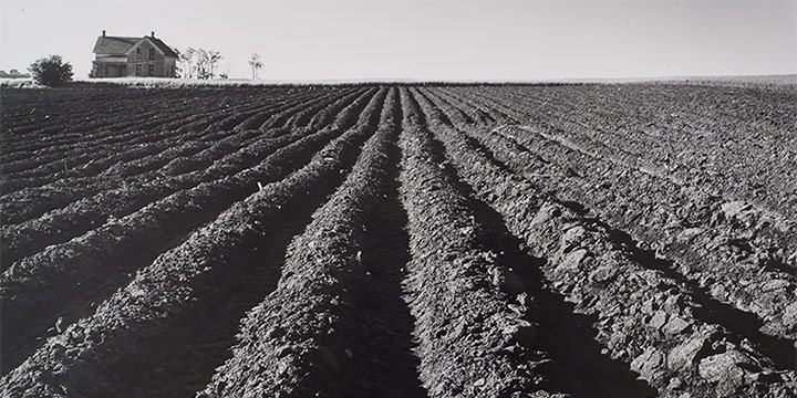 Wright Morris, Plowed Land, Iowa, 1947, 1941, silver print, 1975