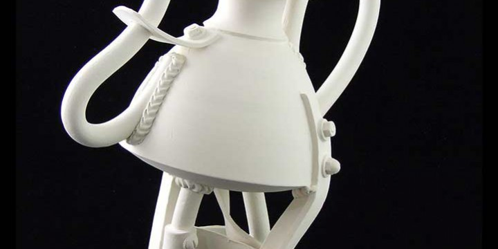 Jake Jacobson, Strut - A Teapot Frp, the Atomation Series #2, ceramic with glazed surface