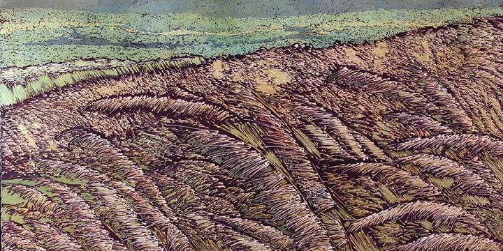 Kristin Allphin, Prairie Summer, batik on paper