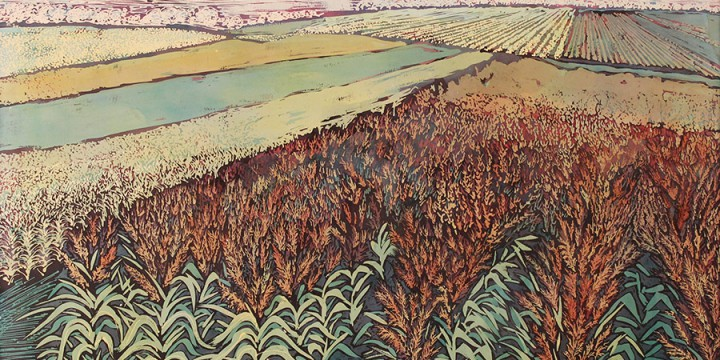 Kristin Allphin, Summer Harvest, batik on paper
