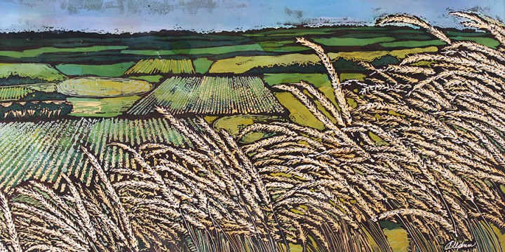 Kristin Allphin, Summer Fields, batik on paper