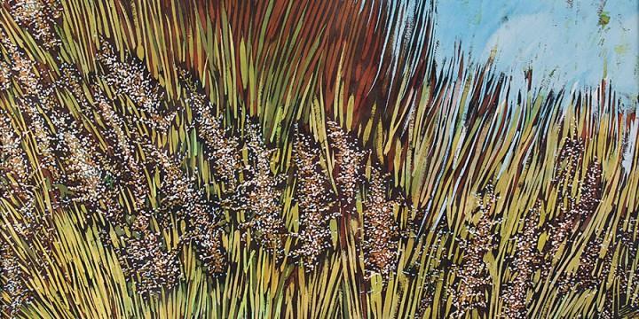 Kristin Allphin, Abundant Prairie, batik on paper