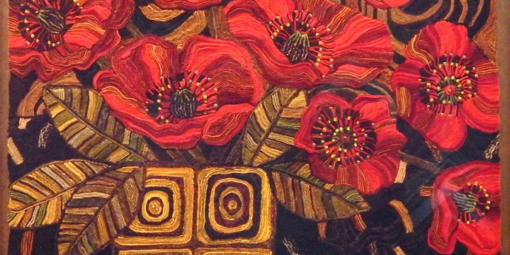 Molly, Anderson, Red Poppies, wool, glass beading, masonite