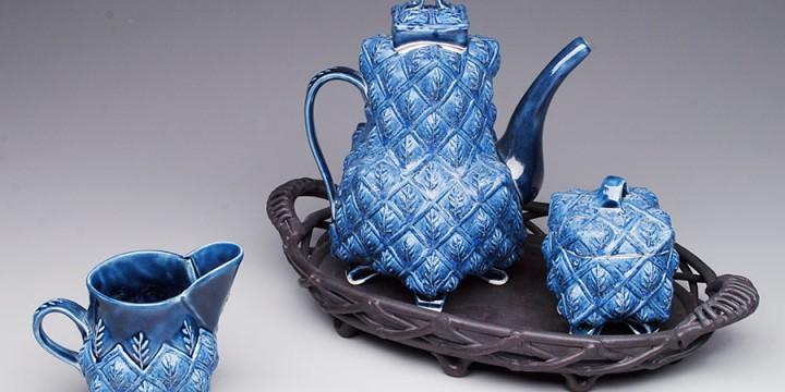 Margaret Bohls, Blue Leaf Tea Set, porcelain and stoneware