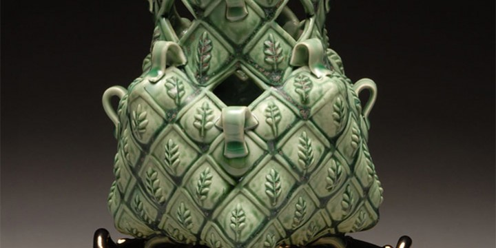 Margaret Bohls, Green Leaf Vase on Trivet, porcelain and stoneware