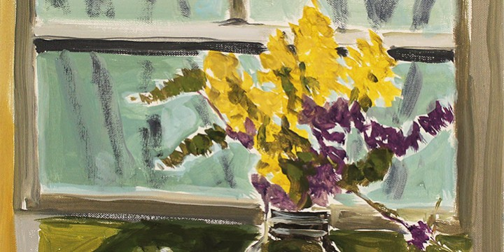Stephen Dinsmore, Still Life in Jar in Window, oil