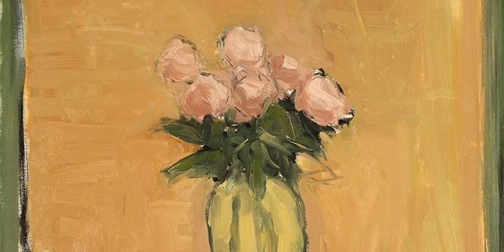 Stephen Dinsmore, Peonies, Yellow Vase, oil