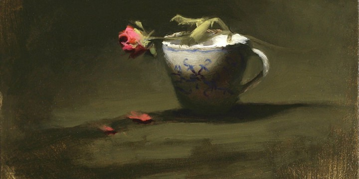 Jeremy Gooding, Rose and Teacup, oil