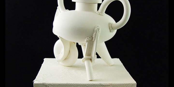 Jake Jacobson, Teapot with Vestige & Draped Pedestal from the Second Automata Series, ceramic with glazed surface