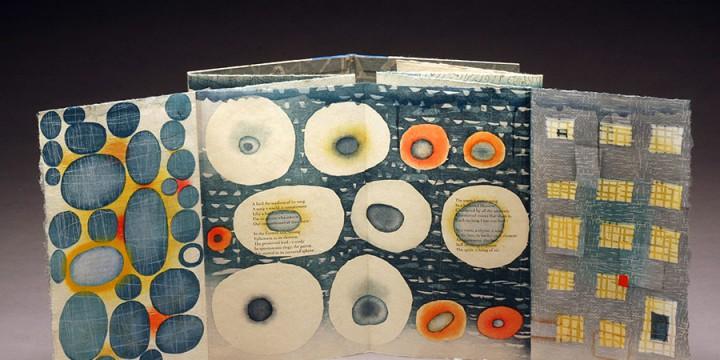 Karen Kunc, Ephemera, bookwork - woodcut relief & letterpress accordial folded into covered books & leather spine
