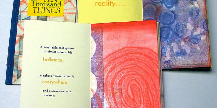 Karen Kunc, Ten Thousand Things Volume #47, #49, #51, book works set - monoprint & letter press, sewn binding