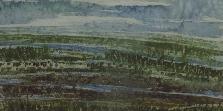 Larry Peterson, Platte Backwater, watercolor