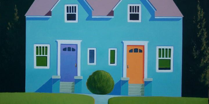 Martha Pettigrew, Blue Duplex, oil