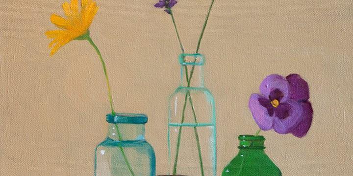 Thompson, Bottles & Flowers, oil on canvas