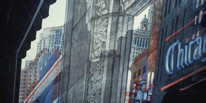 Allan Tubach, No. 879 Up Down Neon News, acrylic on panel