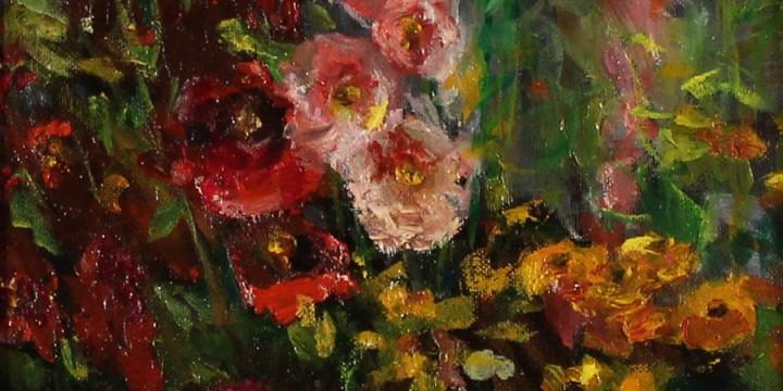 Virginia Wattles, Alley Roses, oil