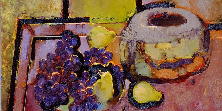 "Milton Wolsky, ""Pruzzo"" Chilean Grapes, Medium: oil on canvas board, 1978"