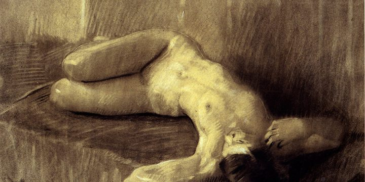 Augustus Dunbier, Nude Woman No. 1 (reclining), charcoal, n.d.