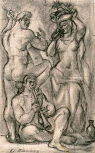 Emery Abraham Forbes, The Three Musicians, pencil