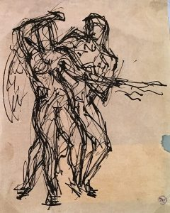 Emery Abraham (Donald) Forbes, Two Men Fighting, ink, n.d.