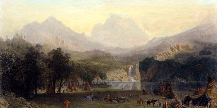 Albert Bierstadt, Rocky Mountains, Lander's Peak, steel engraving, 1866