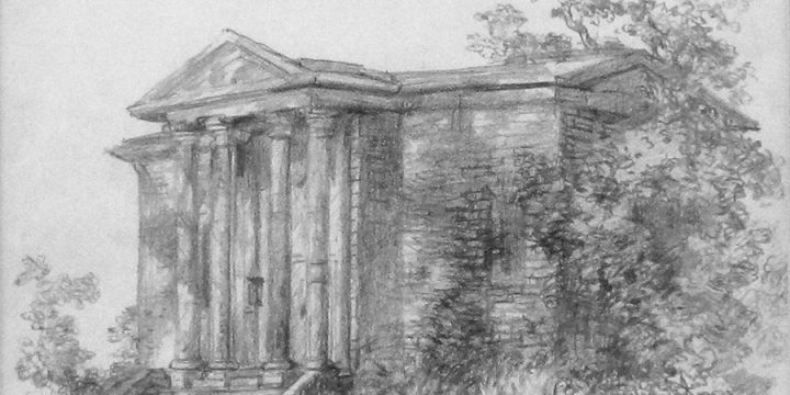 Terence R. Duren, Untitled (classical building) , pencil, n.d.