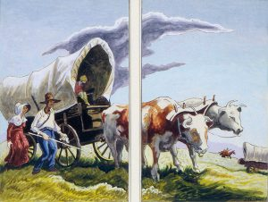 Thomas Hart Benton, The Covered Wagon, gouache, ink; 1945