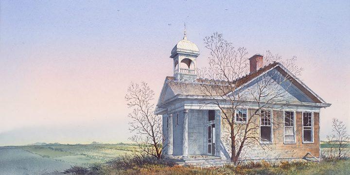 William Schlaebitz, 4-Star School - Bladen, Nebraska, watercolor, 1989