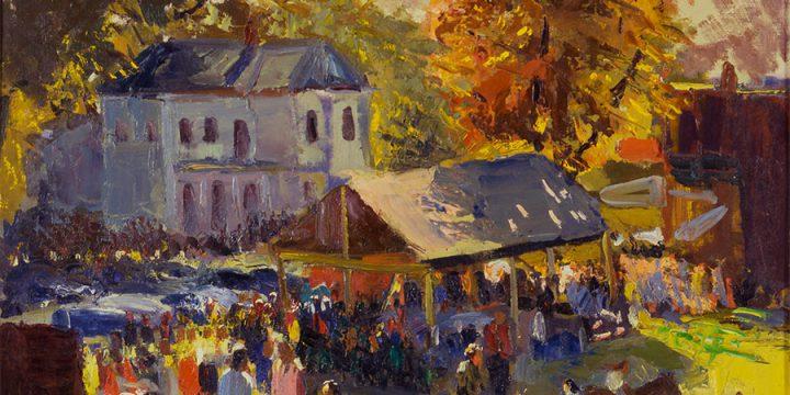 Augustus Dunbier, Harvest Festival, Brownville, Nebraska, oil on canvas, c. 1950s