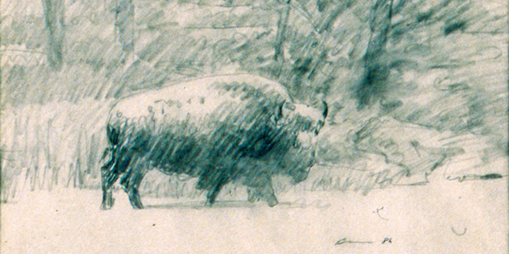 James Bama, Studies for Winter on Trout Creek, pencil, oil, 1986