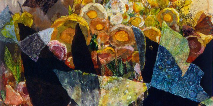 Myra Biggerstaff, Butterflies (In My Garden), collage, watercolor, n.d.