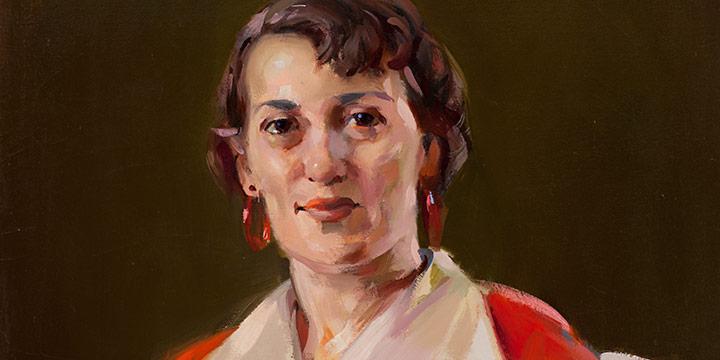 Augustus Dunbier, Lady in Red, oil, c. 1946-1947