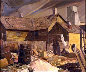 Frank Sapousek, Alley View, oil, n.d.