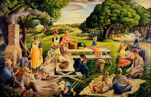 Terence R. Duren, Picnic in the Park, 1944, oil on canvas, c.1944