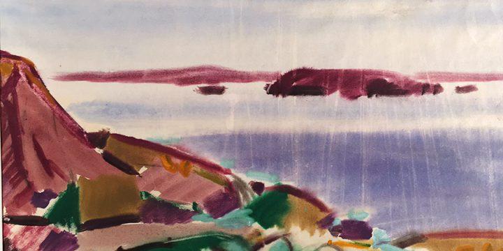 Myra Biggerstaff, Rocks and Sea II, watercolor, 1947