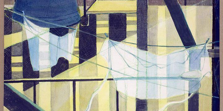 Myra Biggerstaff, Fire Escape Sketch, watercolor, c. 1970