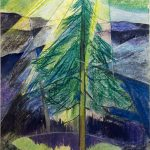 Myra Biggerstaff, Pine Tree at Sunrise, pastel, watercolor, n.d.