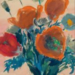 Myra Biggerstaff, Poppies, watercolor, 1945