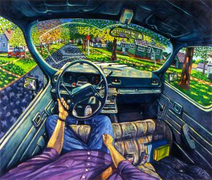 Vincent Hron, Driving, oil on canvas, 1992