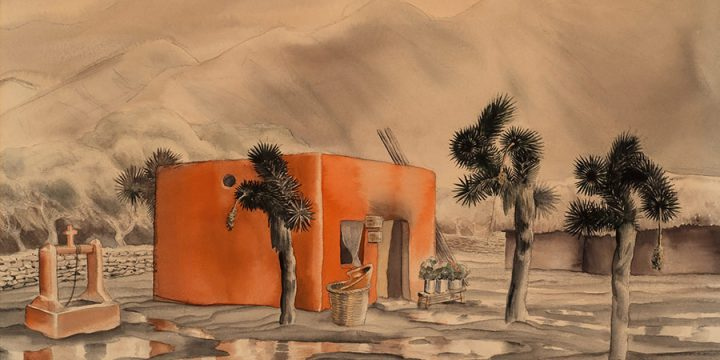Terence R. Duren, Untitled (adobe house), watercolor, n.d.