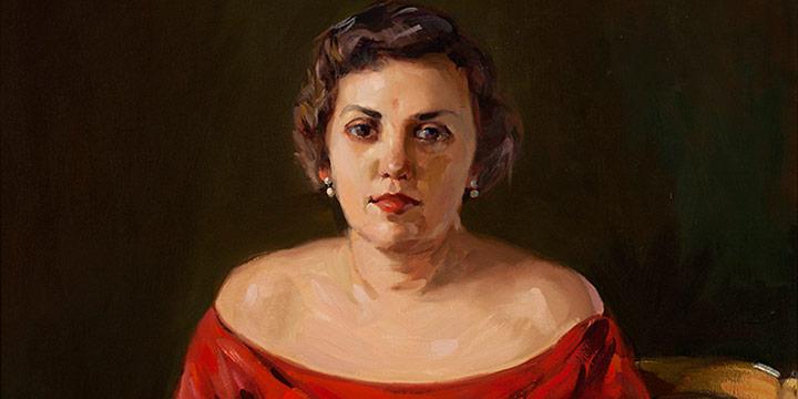 Augustus Dunbier, Portrait of Roberta Foster Long, oil, n.d.