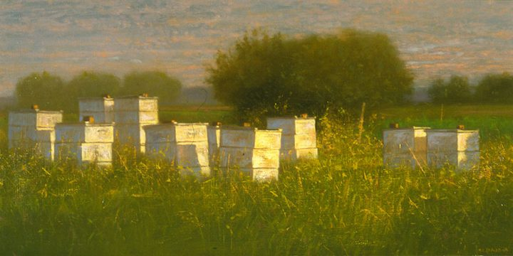 Raymond Knaub, Prairie Bees, oil on linen, 1996