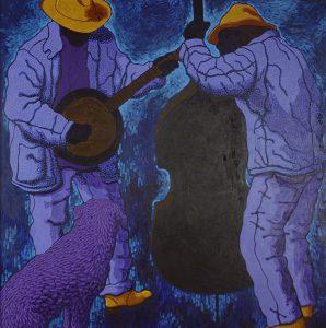 Tom Rierden, Blue Moon, egg tempera, wax on masonite panel, 1998