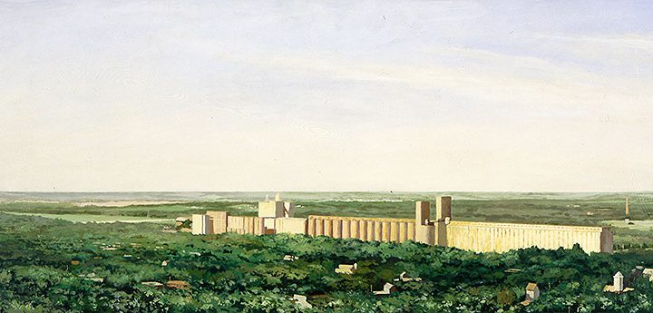 Tim Klunder, Elevators, Lincoln (looking southwest from the Capitol building observation deck), acrylic on board, 1996