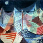 Myra Biggerstaff, Moonlit Harbor, tempera, n.d.
