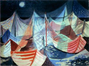 Myra Biggerstaff, Moonlit Harbor, oil