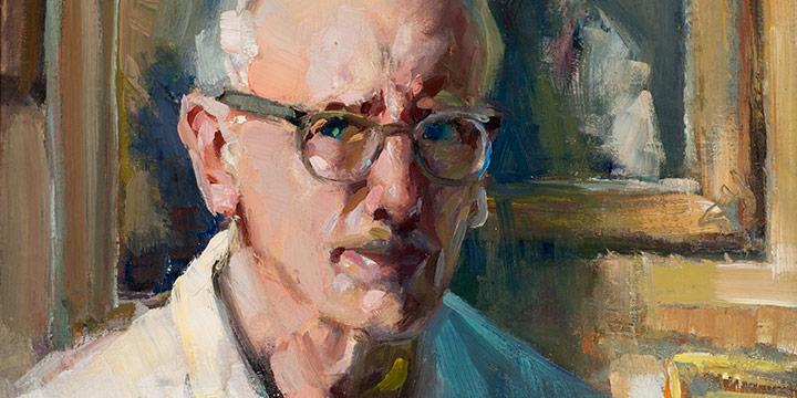 Augustus W. Dunbier, Self-Portrait in Studio, oil on board, 1950s